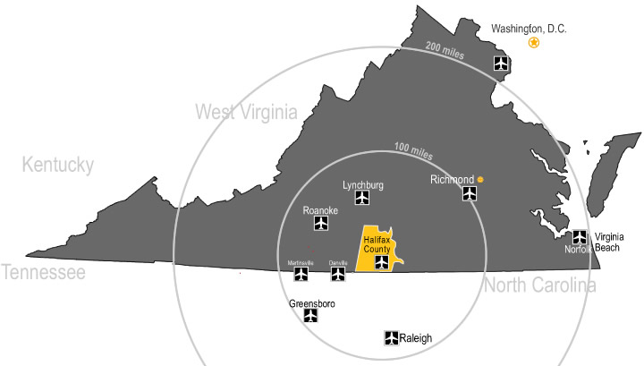 airports within 200 miles of Halifax County Virginia
